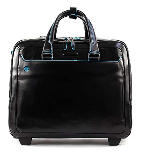 Piquadro Blue Square Wheeled Computer Briefcase Nero