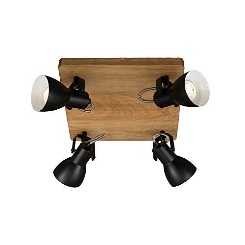 Briloner Leuchten luz, Foco Retro, lámpara de Techo Vintage, focos giratorios y orientables, 4X GU10, MAX. 35 vatios, Madera y Metal, 280x280x135 mm (LxAxA), Negro-blanco