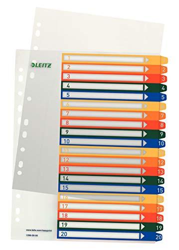 Leitz Índice 1-20, Imprimible con Ordenador, A4, Plástico Rígido, Extra Ancho, Blanco/Multicolor, 12960000