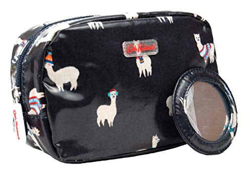 Cath Kidston Kosmetiktasche mit Spiegel Mini-Alpacas, Wachstuch, Mitternachtsblau