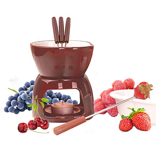 Schokoladenfondue Set,Schokoladenherd Käse Fondue Topf Keramik Fondue Set mit 4 Fondue-Gabeln und 2 Teelampenhalter für Geschmolzene Schokolade,alle Arten von Käse-Schokoladen-Fondue