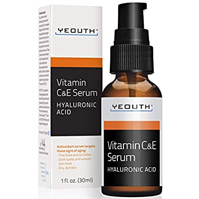 YEOUTH Vitamin C and E Day Serum with Hyaluronic Acid, anti aging skin care product/anti wrinkle serum will fill fine lines, even skin tone and fade age spots (1oz)