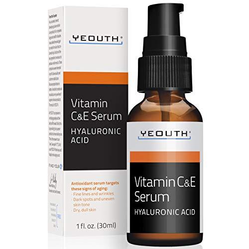 YEOUTH Suero Diurno de Vitamina C con Acido Hialurónico, Vitamina E, Antienvejecimiento, Antiarrugas (1oz)