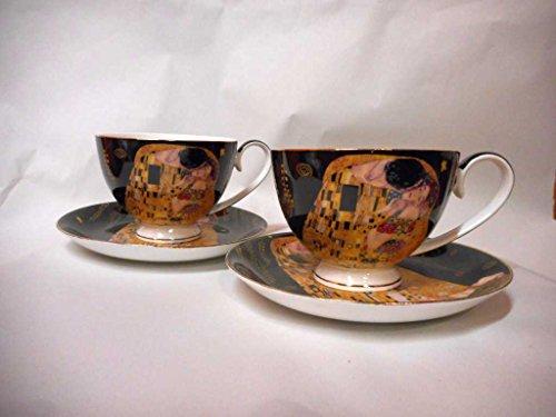 Atelier Harmony Gustav Klimt Tee- Kaffeetassenset 4teilig Der Kuss Porzellan mit Geschenkbox NEU Limited Collection Schwarz/Gold