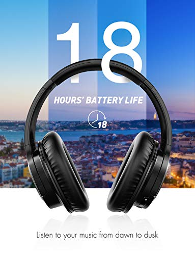 Mpow H7 Bluetooth Headphones Over Ear, Comfortable Wireless Headphones w/Bag, Rechargeable HiFi Stereo Headset, CVC6.0 Headphones with Microphone for Cellphone Tablet(Black) 5