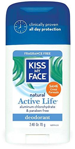 Kiss My Face Aluminum & Paraben Free Active Life Deodorant Stick, Fragrance Free - 2.48 oz