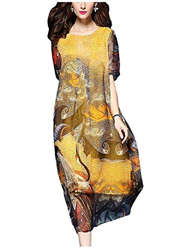 dingtianlidi83026 Een Stuk Jurk Chiffon Chinese Patroon Stempel Losse Fit Lasten Rok -Bordeaux Jurk voor Vrouwen