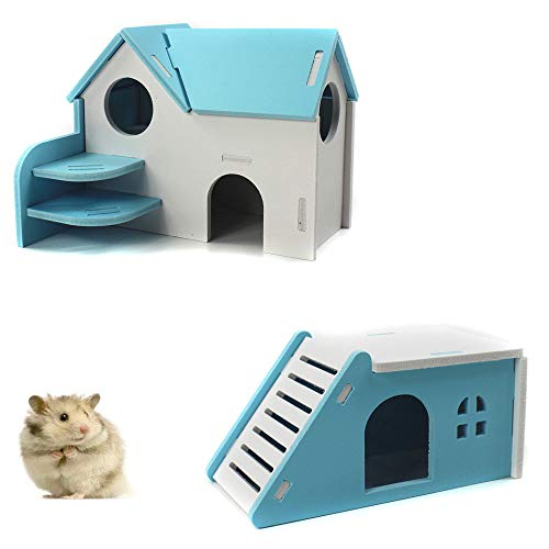 PIVBY Hamster Hideout House Wooden Living Hut Exercise Funny Nest Toy for Mouse, Chinchilla, Rat, Gerbil and Dwarf Hamster-2 Packs (Blue)