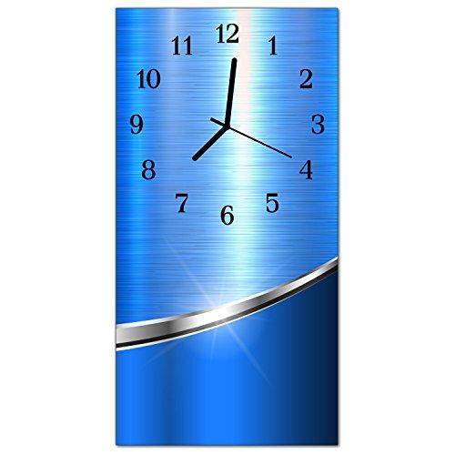 DekoGlas Glasuhr \'Muster Blau\' Uhr aus Echtglas, eckig große Motiv Wanduhr 30x60 cm, lautlos für Wohnzimmer & Küche