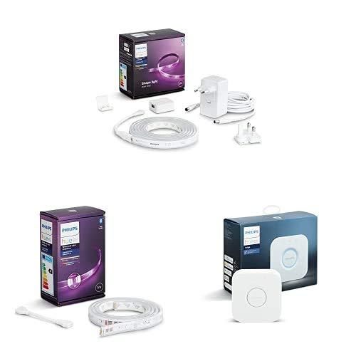 Philips Hue Lightstrip Tira Inteligente LED 2m, con Bluetooth + Lightstrip Tira Inteligente LED 1m, con Bluetooth + Puente de Conexión Controlable vía WiFi, Iluminación Inteligente