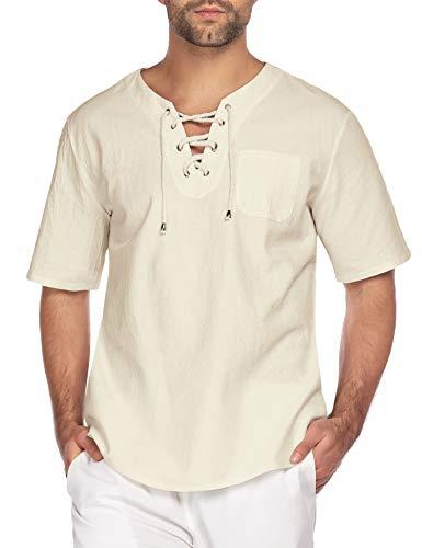 COOFANDY Mens Casual T Shirt Cotton Linen Shirts Short Sleeve Beach Yoga Top