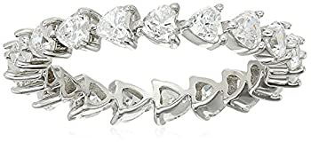 Platinum-Plated Sterling Silver Swarovski Zirconia White Heart All-Around Band Ring Size 7