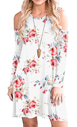 HAOMEILI Long Sleeve Women's Cold Shoulder with Pockets Casual Swing T-Shirt Dresses XS Print White
