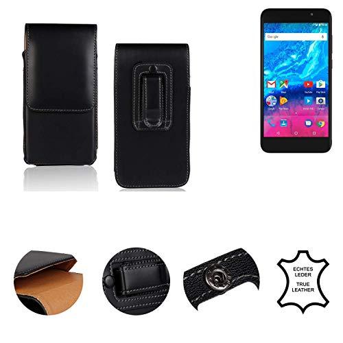 K-S-Trade® Holster Gürtel Tasche Für Archos Core 55P Handy Hülle Leder Schwarz, 1x