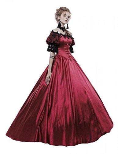 Punk Rave Dark Dreams Gothic Steampunk Neo Victorian Vampir Hochzeit Hochzeitskleid Kleid Ballkleid Evening Gown rot Bloody Tears 38 40 42, Größe:XL