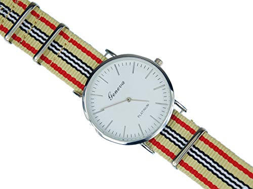 Miniblings Herren Damen Armbanduhr DAU HAU Uhr Zeit Textil beige rot Silber