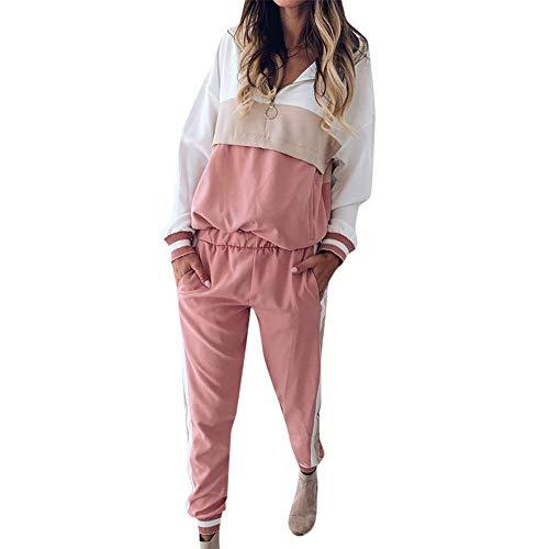Dcola Streetwear Lady 2Er Pack Sportswear Patchwork Langarm Joggingbekleidung Herbst Wintersport Outdoor Hip Hop Fitness Wear Freizeit Sweatshirt(XL,Pink)