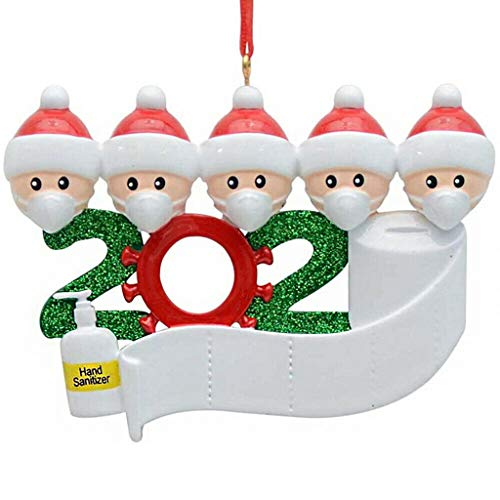 Homthia 2020 Xmas Christmas Hanging Ornaments Quarantined at Home Personalized Ornament - Survivor Family - with Face Masks & Hand Sanitized (A-Family of 5)