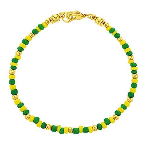 In Season Jewelry Pulsera unisex de Santeria Babalawo, chapada en oro de 14 quilates, con cuentas amarillas verdes