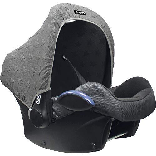 Original Dooky Hoody Sonnenschutz Sonnenverdeck für Babyschalen oder Kinderwagen (Design: Knitted Star Grey, inkl. UV-Schutz 40+, Altersgruppe 0+, Universal geeignet für die meisten Marken)