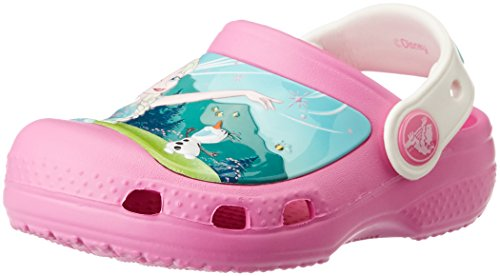 Crocs Girls' CC FrozenFever ClogK, Party Pink/Oyster, 4-5 M US Toddler