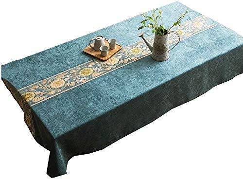 ZXL tafelkleed, plantaardig, kunststof, rechthoekig, creatieve eettafel, restaurant tafelkleed, bedrukt met bloemen 60-240 cm (kleur: A, maat: 90 x 130 cm)