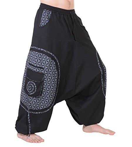 KUNST UND MAGIE Trendige Haremshose Bunte Muster Goa Hippie Hose, Größe:XXL, Farbe:Schwarz/Grau