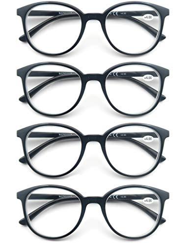 Un Pack de 4 Gafas de Lectura/Gafas para Presbicia para Hombres y Mujeres,Buena Vision Ligeras Comodas,Vista de Cerca/Vista Cansada 4 negro