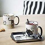 ROLDAN Set de 2 Mugs - Tasses Design Chat Joueur en céramique avec Plateau métal Design Assorti.