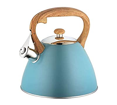 Retro Whistling Kettle for Stovetop, Blue Stainless Steel. Whistles when boiling, just like backm in the day!