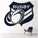 azutura Badge de Rugby Sticker Muraux Ballon de Rugby Autocollant Mural Sports pour garçons Décoration de Maison Disponible en 5 Dimensions et 25 Couleurs Moyen Basalte Gris