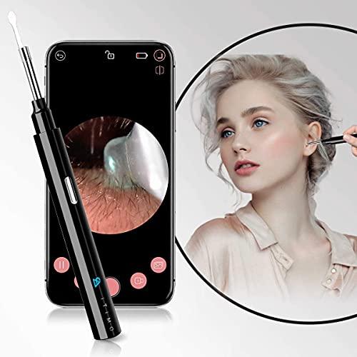 Ohrreiniger, 1080P FHD Otoskop mit 4 PCS Ohrstöpsel ( wechselbare & waschbar), 3.5mm Ohr Kamera mit 6 LED-Lichts verbindung über WLAN, mit DE Beschreibung, geeignet für iOS & Android-Smartphones