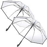 Carlo Milano Schirm: 2er-Set transparente Stock-Regenschirme, Stahl & Fiberglas, Ø 100 cm (Durchsichtiger Regenschirm)