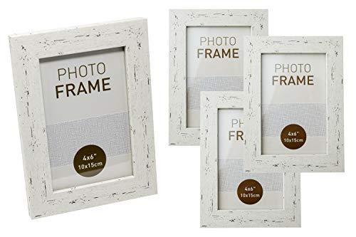Selldorado® Juego de 4 marcos de fotos de madera de 10 x 15 cm en color blanco – Marco de fotos con soporte en aspecto vintage Shabby Chic
