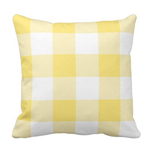 Emvency Throw Pillow Cover Cute Preppy Rustic Yellow and White Buffalo Check Chic Decorative Pillow Case Home Decor Square 18 x 18 Inch Pillowcase