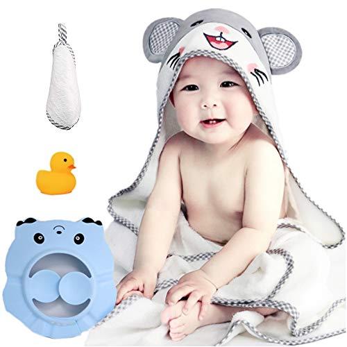 RTBQJ-AT Toalla Bebé con Capucha, Extra Suave y Grueso Toalla de Baño para Bebé Hipoalergénica de Bambú Orgánico Super Absorbente con Bebé Gorro de baño