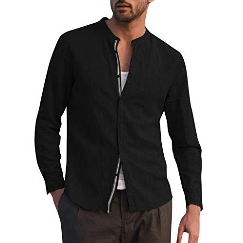 CAOQAO Blusa de Lino Holgada para Hombre Patchwork Color sólido Camisas con Cuello Alto y Manga Larga