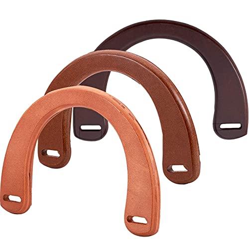 3 st träväska handtag u-formad träväska handtag ersättningsväska handtag för väsktillverkning virkade handväskor handtag för handgjorda strandväskor handväskor stråväska handväska virkade handväskor 3 färger