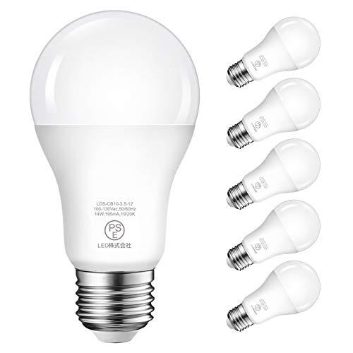 LED電球 E26口金 100W形相当 14W 1500LM 昼白色 5000K 省エネ 高輝度 PSE認証済 3年安心保証 調光器非対応 6個入