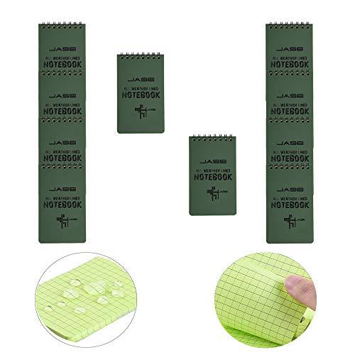 LZYMSZ Cuaderno Impermeable de 10 piezas, Cuadernos en Espiral Resistentes al Agua para todo Tipo de Clima, Cuadernos en Espiral, de Bolsillo de 3 'x 5', Notas papel de Cuadrícula Verde