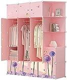 Kleiderschrank Schlafzimmer Rosa Kindertruhen Schlafzimmer Montiert Cartoon Einfache Kombination Lagerschrank Multi-Grid 147x47x183cm UOMUN
