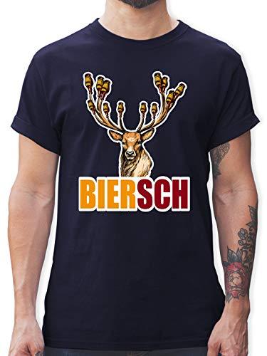 Oktoberfest & Wiesn Herren - Biersch - Bier und Hirsch - XL - Navy Blau - Statement - L190 - Tshirt Herren und Männer T-Shirts
