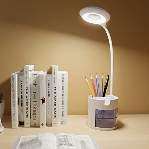 Led Desk Lamp for Kids, Eye-Caring Table Light with Phone Pen Holder Storage Case, 3 Brightness Levels Touch Control, 360°Flexible Gooseneck Rechargeable Reading Lamp for Home Office