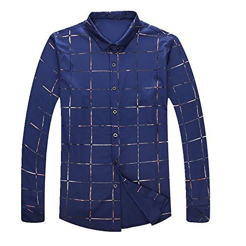 N\P Camisa de manga larga de los hombres primavera y otoño delgada parte superior a cuadros casual de los hombres delgada sin hierro camisa