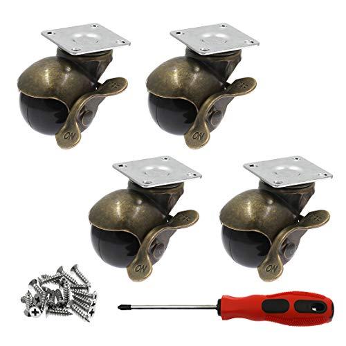 Luomorgo 3,8 cm Vintage Kugelrollen mit Bremse 360 Grad Antike obere Plattenrollen für Möbel, Bank, Schränke, Rollstühle, 79,8 kg Gesamtkapazität Rolle für 4 Stück
