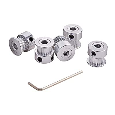 INCREWAY 5pcs Aluminum GT2 Timing Belt Pulley 20 Teeth Bore 5mm Width 6mm and Wrench for RepRap 3D Printer Prusa i3