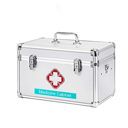 Youngshion Tragbare Notfall-Aufbewahrungsbox mit Kreuz-Schultern, mit Kindersicherung, für Zuhause, Reisen, Arbeitsplatz (Silber, 40,6 cm)