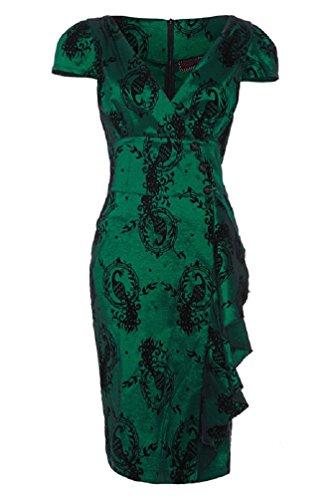 Vestido esmeralda de tubo al estilo Rockabilly de los 50's de Voodoo Vixen Candy Ann Peacock