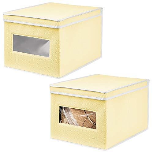 mDesign Juego de 2 Cajas de Tela – Práctico Organizador de armarios con Tapa para Dormitorio, salón o baño – Caja de almacenaje apilable de Fibra sintética Transpirable – Amarillo Claro/Blanco