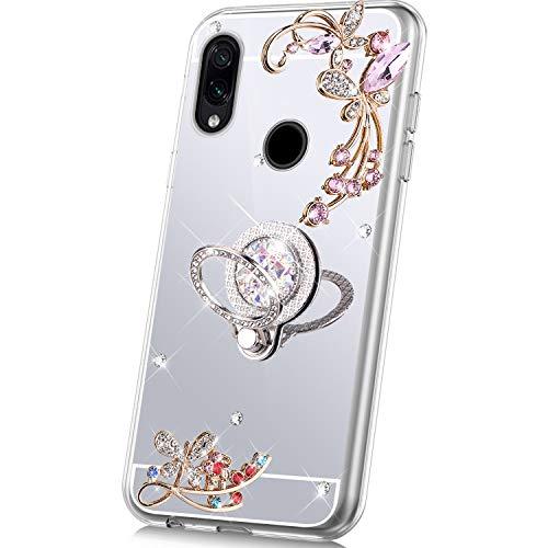JAWSEU Compatibel met Xiaomi Redmi Note 7 Hoes spiegel glanzend zilver